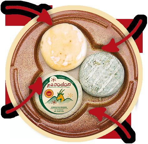 Plateau de fromages Picodon-différents affinages-Fromage de chèvre de caractère-Drôme Ardèche-Picodon AOP