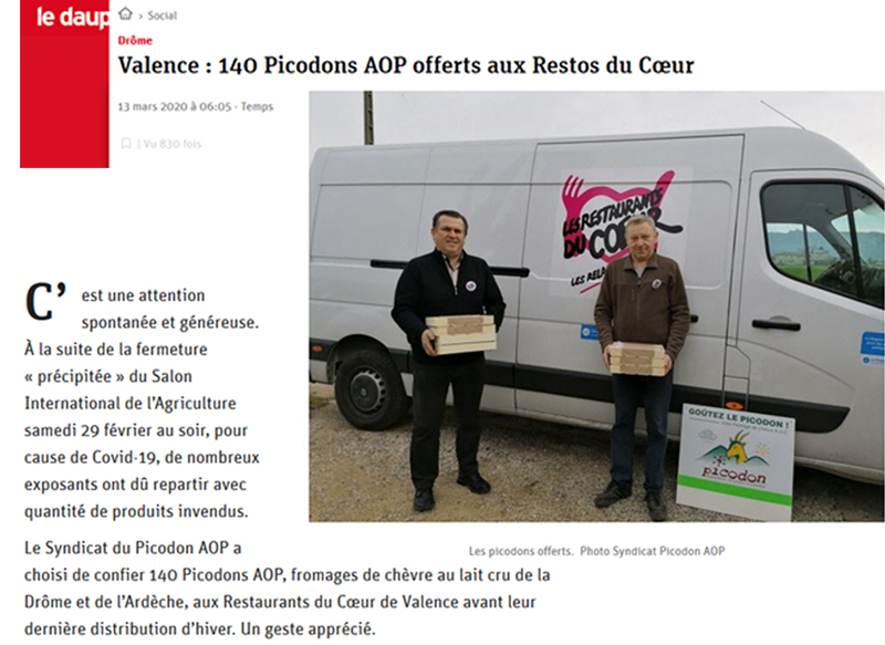 SIA 2020 - resto du cœur - Picodons - Don -